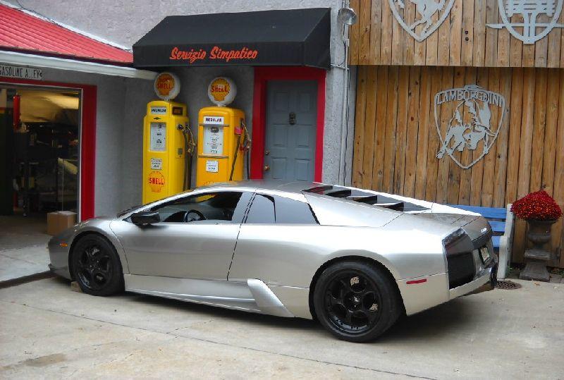 silver Lamborghini Murcielago water pump replacement